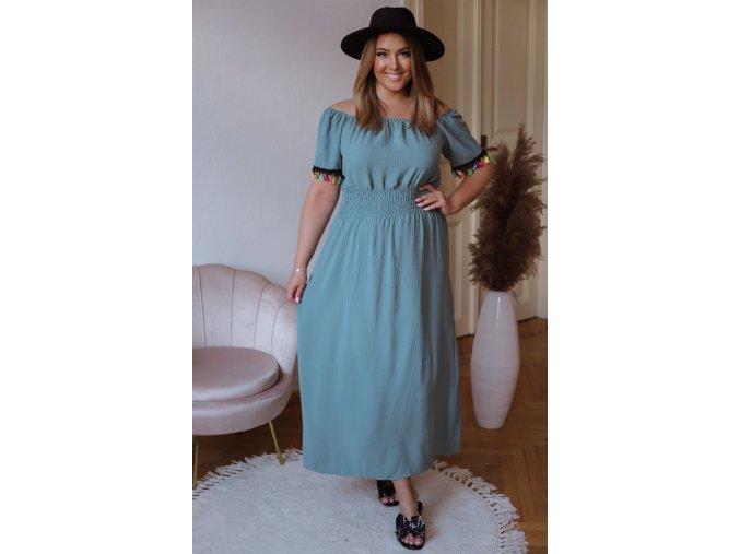 Dlhé šaty s farebnými strapcami - modro zelená