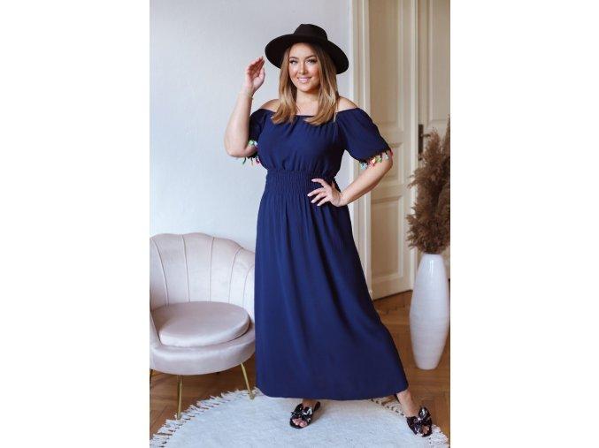 Dlhé šaty s farebnými strapcami - tmavo modrá