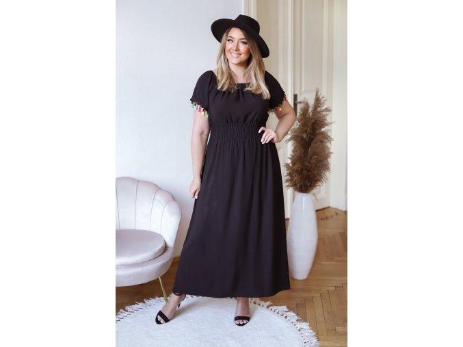Dlhé šaty s farebnými strapcami - čierna