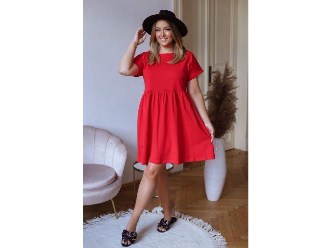 Bavlnené krátke šaty s krátkym rukávom - červená