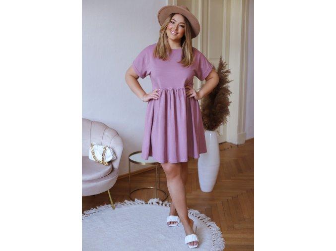 Bavlnené krátke šaty s krátkym rukávom - fialovo ružová