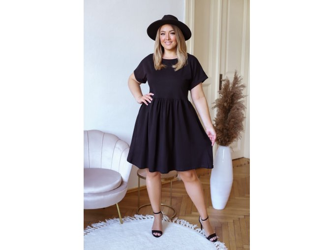 Bavlnené krátke šaty s krátkym rukávom - čierna