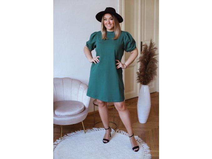 Krátke bavlnené šaty s puffovými rukávmi - zelená