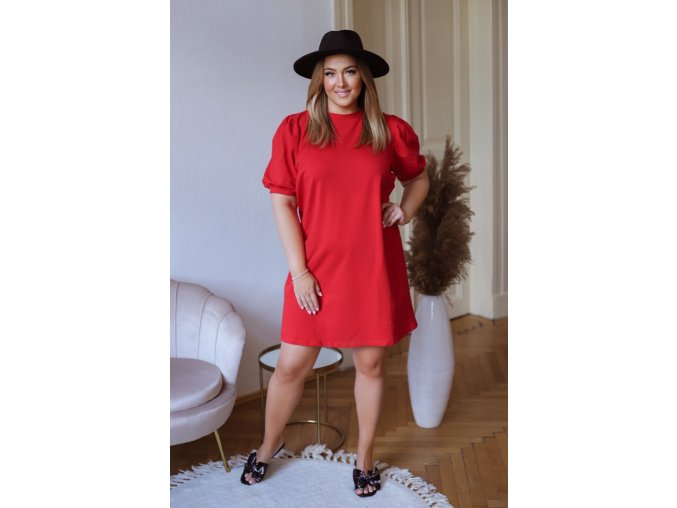 Krátke bavlnené šaty s puffovými rukávmi - červená