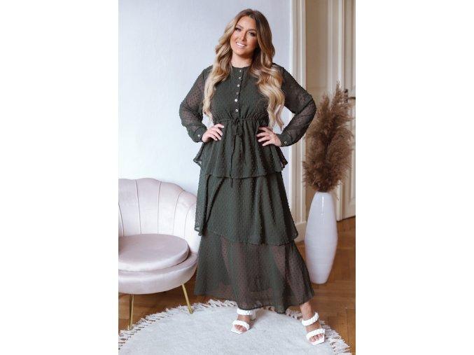 Bodkované dlhé šaty s volánovou sukňou - tmavo zelená