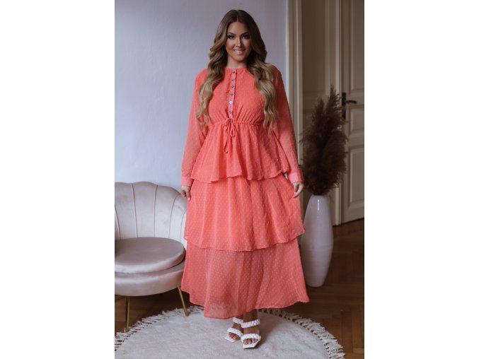 Bodkované dlhé šaty s volánovou sukňou - korálová