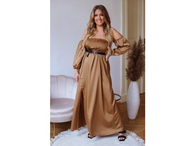 Dlhé elegantné šaty so saténovým efektom a opaskom - hnedá