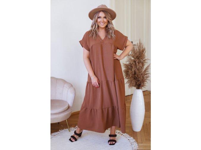 Dlhé hnedé šaty s krátkym rukávom