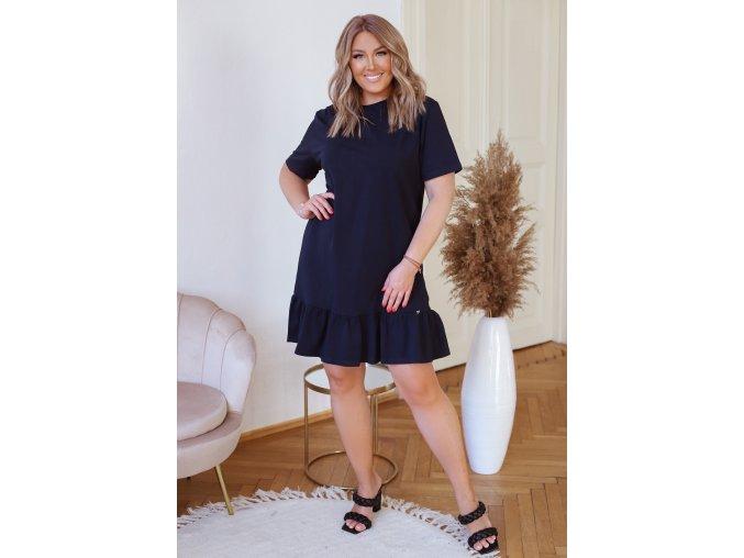 Bavlnené šaty s krátkym rukávom a volánikom na sukni - tmavo modrá