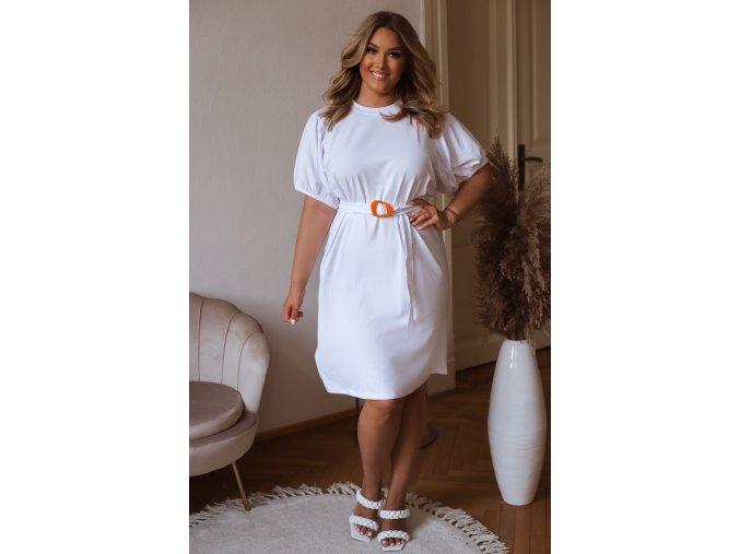 Krátke tričkové šaty s puffovými rukávmi a opaskom - biela