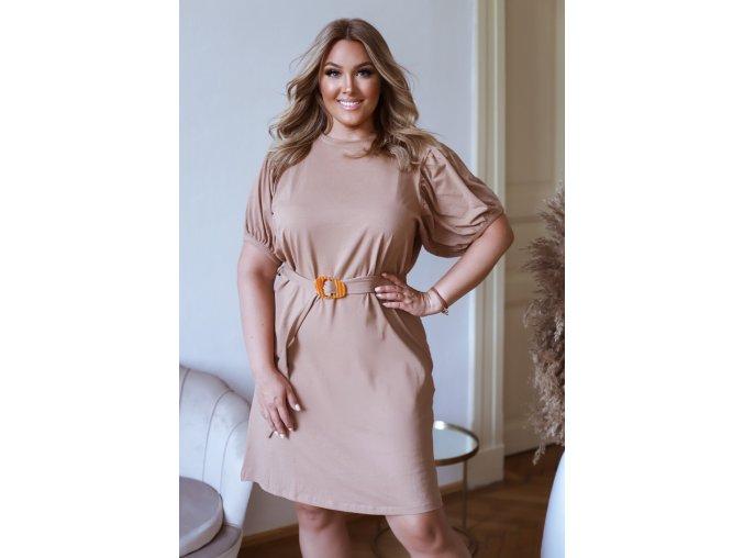 Krátke tričkové šaty s puffovými rukávmi a opaskom - hnedá