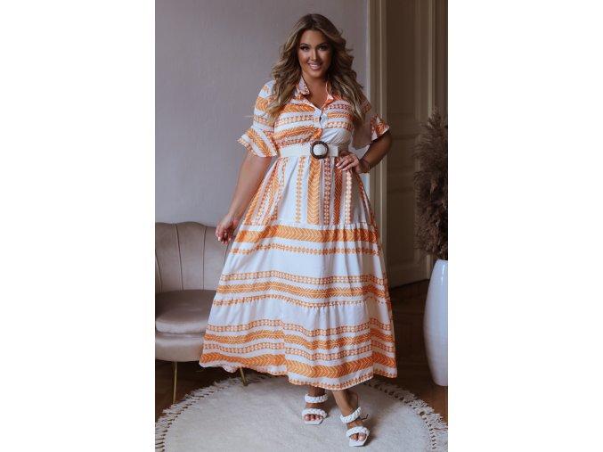 Dlhé bielo-oranžové vzorované šaty s opaskom