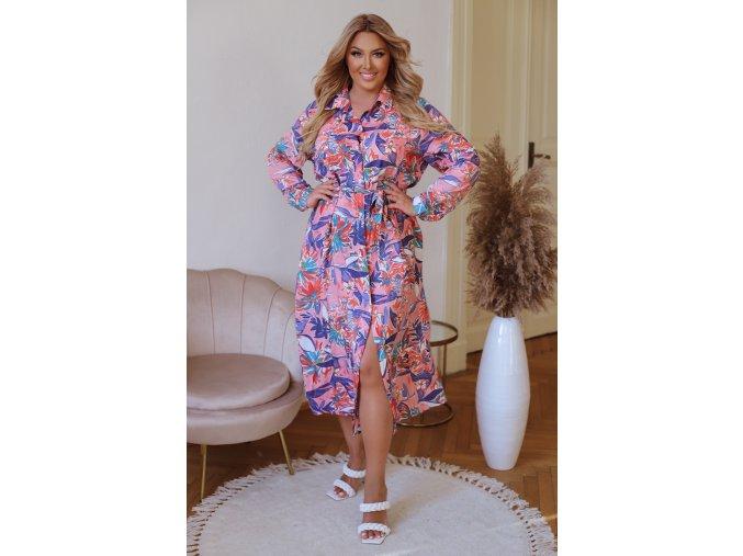 Farebné košeľové šaty s tropickým vzorom