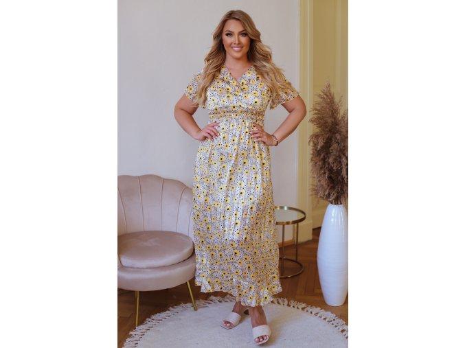 Dlhé kvetinové šaty s krátkym rukávom - bielo-žltá