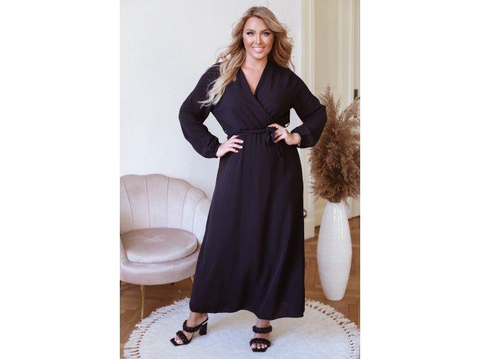 Dlhé šaty s dlhým rukávom a opaskom - čierna