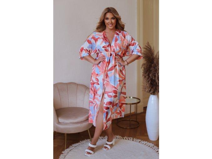 Dlhé farebné  vzorované šaty s rázporkom