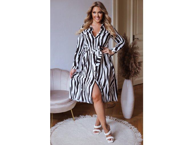 Čierno-biele košeľové midi šaty