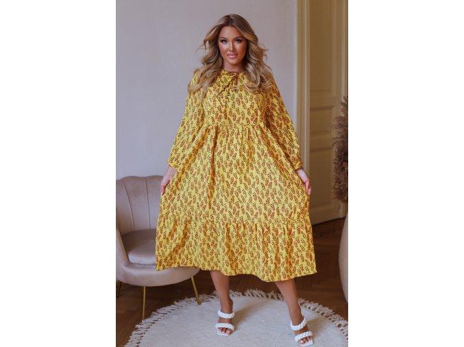 Vzorované šaty v midi dĺžke - žltá
