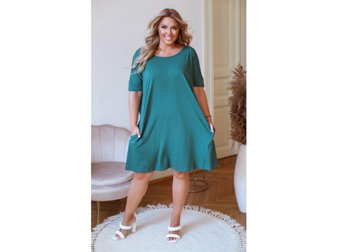 Zelené oversize šaty s prekrížením na chrbte