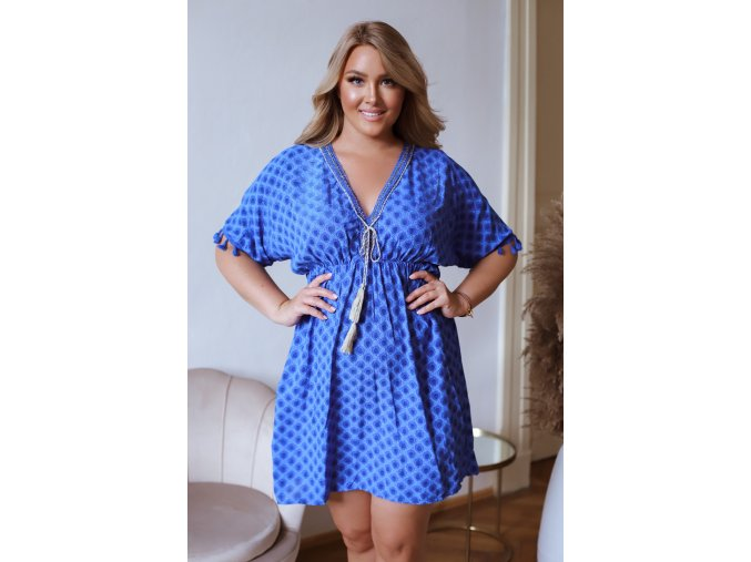 Krátke šaty s krátkym rukávom a strapcami - kráľovská modrá