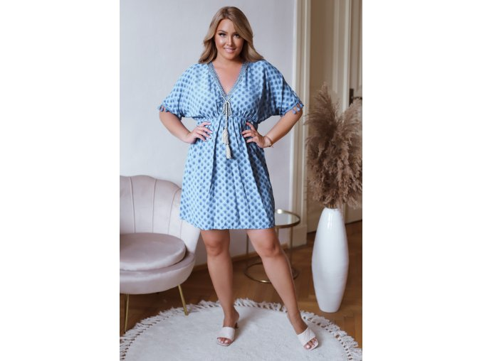Krátke šaty s krátkym rukávom a strapcami -  modrá