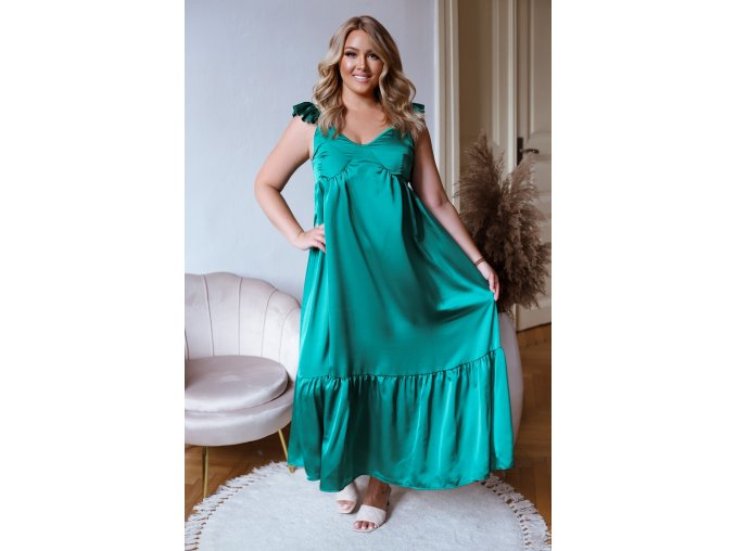 Zelené šaty na ramienka so sténovým efektom
