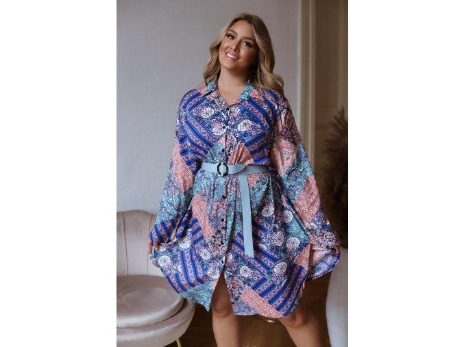 Oversize košeľové šaty v modrej