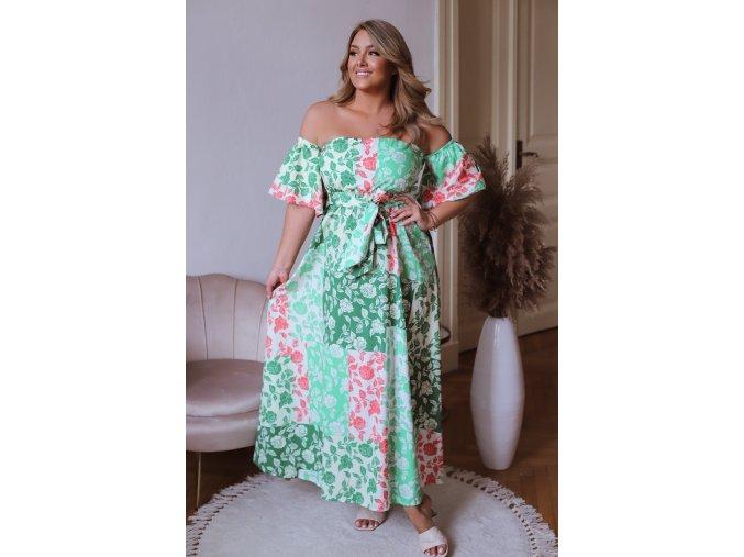 Dlhé zelené vzorované šaty