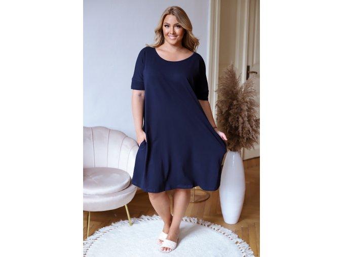 Tmavo modré oversize šaty s prekrížením na chrbte