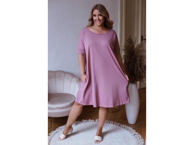 Staro ružové oversize šaty s prekrížením na chrbte