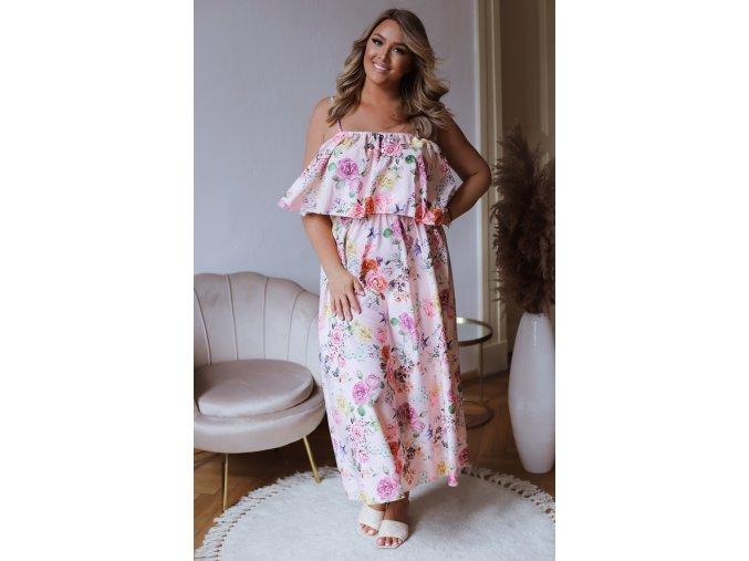 Dlhé kvetinové šaty na ramienka