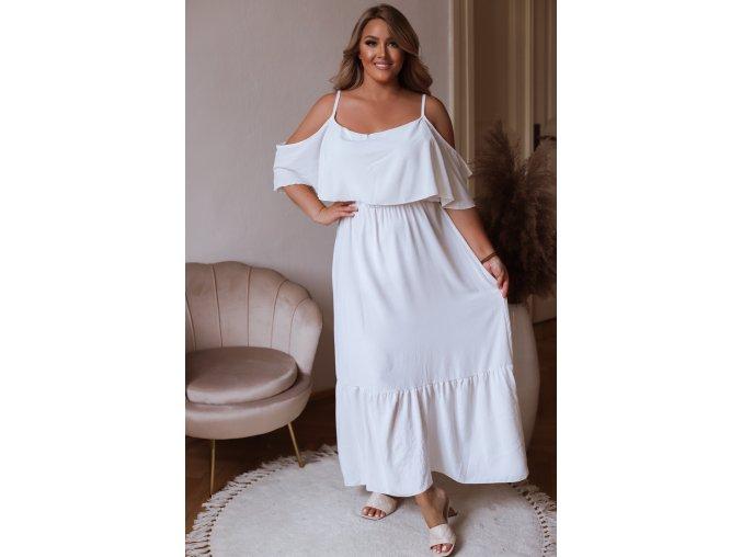 Dlhé šaty na ramienka so spustenými rukávmi - biela