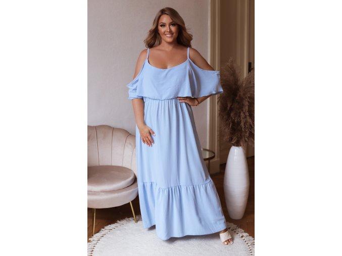 Dlhé šaty na ramienka so spustenými rukávmi - svetlo modrá