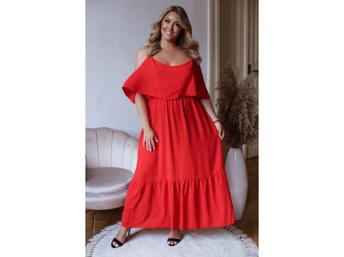 Dlhé šaty na ramienka so spustenými rukávmi - červená