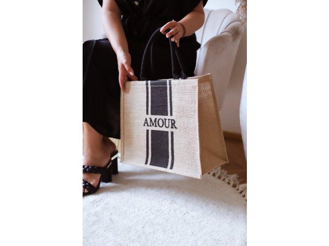Ľanová taška do ruky AMOUR - čierna