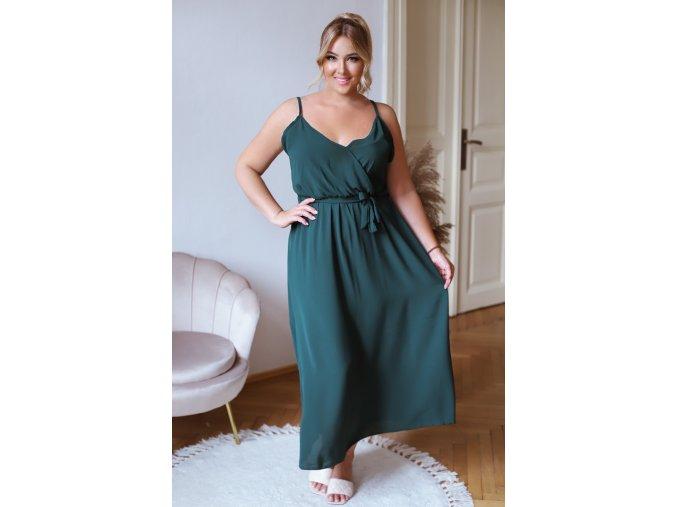Dlhé šaty na ramienka s opaskom v zelenej