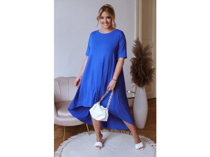 Asymetrické modré tričkové šaty