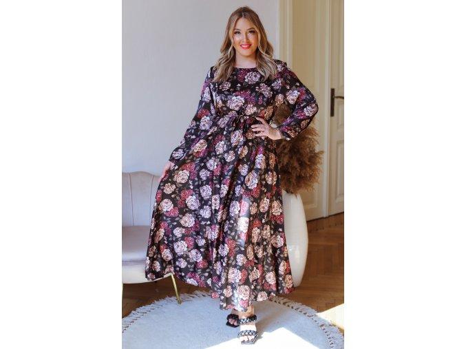 Dlhé šaty s dlhým rukávom a kvetinovým vzorom