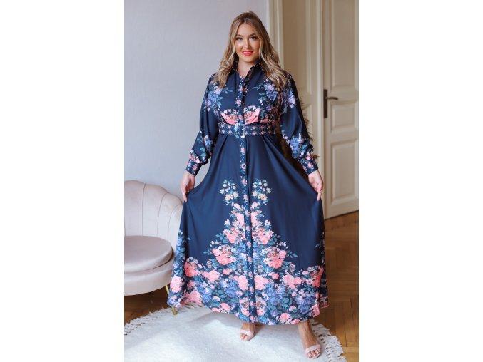 Dlhé tmavo modré košeľové šaty s kvetinovým vzorom a opaskom