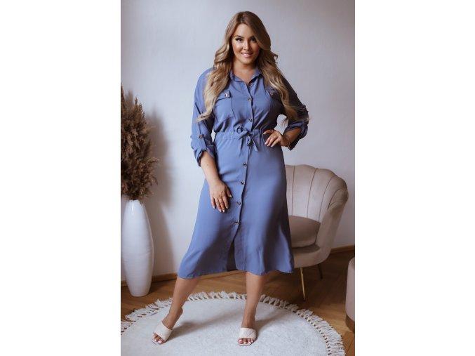 Modrosivé košeľové šaty pod kolená