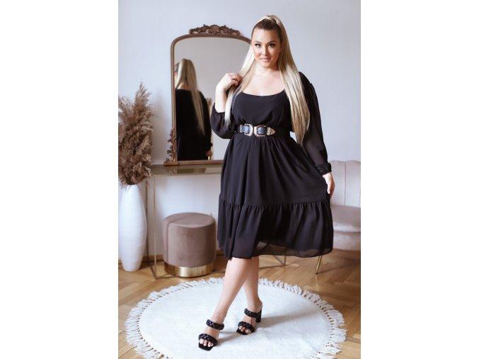 Voľné čierne šaty v midi dĺžke s dlhým rukávom