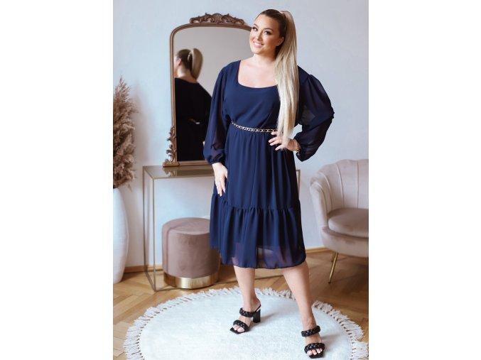 Voľné tmavo modré šaty v midi dĺžke s dlhým rukávom