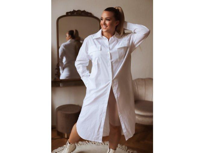 Biele košeľové šaty s dlhým rukávom