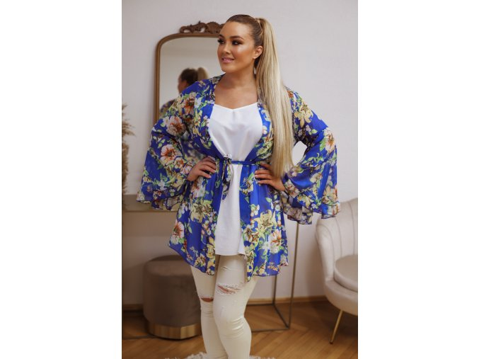 Krátke kvetinové kimono - modrá