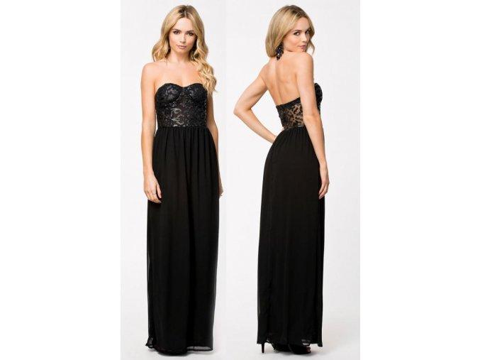 Dlhé čierne šaty bez ramienok