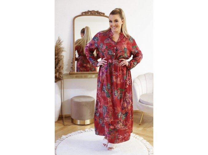 Dlhé vzorované šaty s gumičkou v páse - bordová
