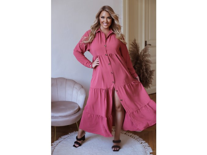 Dlhé košeľové šaty s dlhým rukávom - ružová