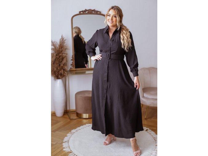 Dlhé elegantné košeľové šaty so štrukturovanou látkou a opaskom v čiernej