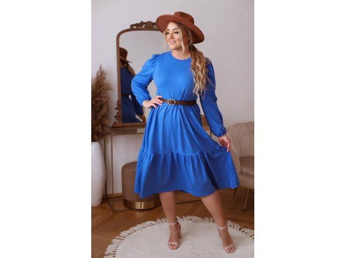 Modré prešívané šaty s dlhým rukávom