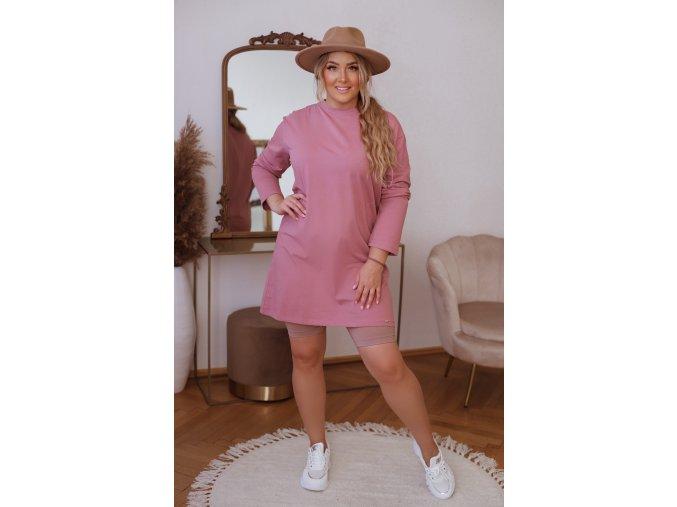 Bavlnené tričkové šaty s dlhým rukávom - staro ružová